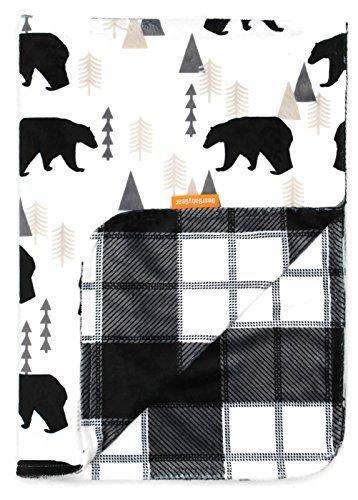 Dear Baby Gear Deluxe Reversible Baby Blankets Custom Minky Print Black Bears Black and Grey Plaid Minky -