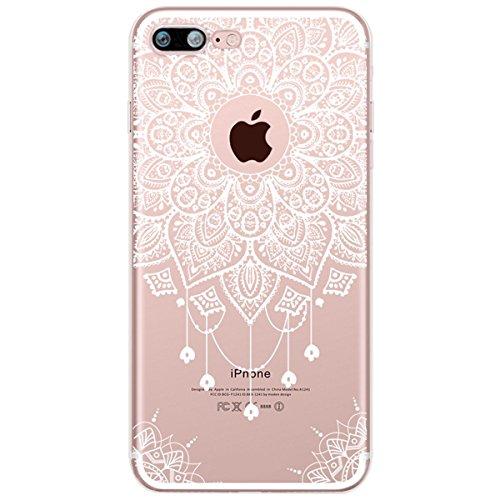 Cover iPhone 8 Plus,Cover iPhone 7 Plus,Custodia iPhone 8 Plus / iPhone 7 Plus Cover,ikasus® Cover Trasparente custodia iPhone 8 Plus / iPhone 7 Plus disegno colorato TPU con Bianco hennè mandala fior Fiore bianco del Mandala #5