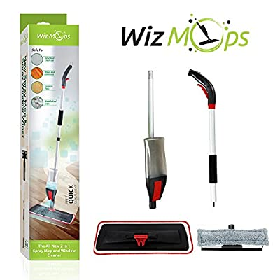 2 in 1 Spray Mop Kit with Window Cleaner   600ml Refillable bottle With Reusable Microfibre Pad   for Wet and Dry Vinyl, Hardwood, Laminate, Wood & Tiles Floor Cleaning, Glass Wipe   Safer than steam mop