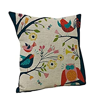 Amybria Square Throw Sofa Pillow Case Linen Cotton Decorative Cushion Cover Home Bird Owls