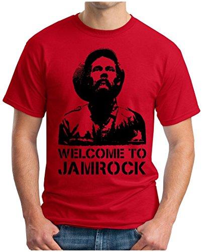 OM3 - WELCOME TO JAMROCK - T-Shirt Gangsta RAP Punk REGGAE Roots EMO MUSIC WEED Jamaica, S - 5XL Rot