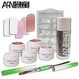 *Poly AcrylGel COMFORT Set* - UV/LED - ((Sehr hohe Viskosität! & Geruchsneutral!!)) 5x5ml Clear, White, Nude Rose, Nude Rosa, Pink