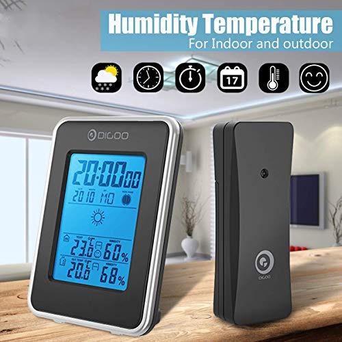 HXUJ Digitale LCD-Wetterstation + Funk-Außensensor Hygrometer Thermometer Uhr Blau hinterleuchtet