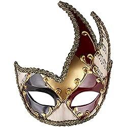 SoonerQuicker Masque de masquage pour homme Masque de fête musicale à carreaux vénitien d'époque Mardi Gras