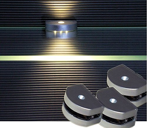 LED 3-Seiten Glaskantenbeleuchtung / 2295WW / LED Komplettset / Glasbodenbeleuchtung / LED Clip / Lichtfarbe warm weiß / Vitrinenbeleuchtung / Glasplattenbeleuchtung / Möbelbeleuchtung (4-er Set)