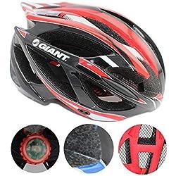 Bicicleta casco 53-62cm Xagoo con construido en luz LED (negro&rojo)