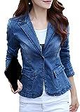 Bevalsa Damen Vintage Denim Business Slim Blazer Jeans-Jacke Übergangsjacke Mantel Jeansmantel Outwear Trenchcoat Frühling Kurz Jack