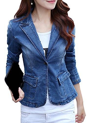 Bevalsa Damen Vintage Denim Business Slim Blazer Jeans-Jacke Übergangsjacke Mantel Outwear Trenchcoat Frühling Kurz Jack