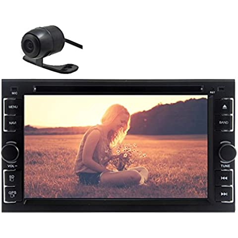 Bluetooth para Steraming Car Stereo Music USB / SD / CD AM / FM Radio Car Audio En la unidad principal Dash Jefe Unidad de DVD del coche reproductor de v¨ªdeo con posterior 6.2 pulgadas de v¨ªdeo Doble Din pantalla t¨¢ctil del coche Bluetooth est¨¦reo de audio con la c¨¢mara