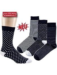 Damen-Söckchen 'Black & White' 3er Pack, Größe:35-38