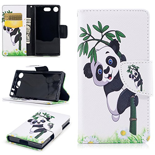 Cover iPhone 7, Custodia iPhone 8, WindTeco Custodia in Pelle Portafoglio Libro Flip Cover Protettiva Wallet Case con Porta Carte e Funzione Stand per Apple iPhone 7 / iPhone 8 4.7 Panda e Bamboo