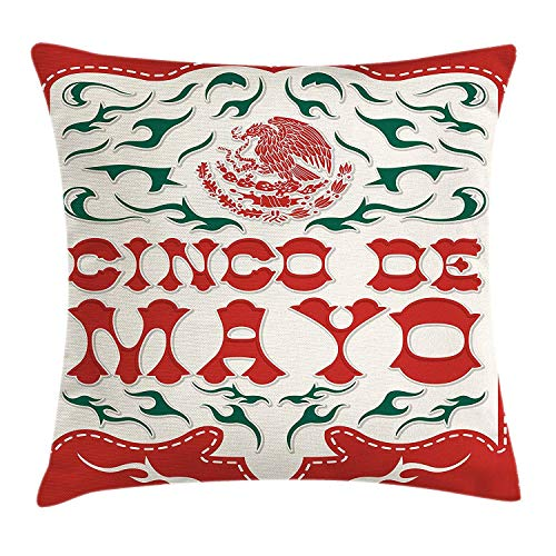 WYICPLO Cinco De Mayo Throw Pillow Cushion Cover, Artistic Print with National Mexican Flag Symbol Eagle, Decorative Square Accent Pillow Case, 18 X 18 inches, Hunter Green Off White Vermilion