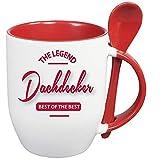 Sprüche Tasse Kaffee macht schön + Löffelbecher Rot BEST OF THE BEST DACHDECKER. 2 Tassen ein Preis. Siehe Produktbild 2.