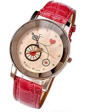 JSDDE Uhren,Fashion Damen Armbanduhr Fahrrad Herz Muster Damenuhr PU Leder Roségold Analog Quarzuhren Kleid Uhr...