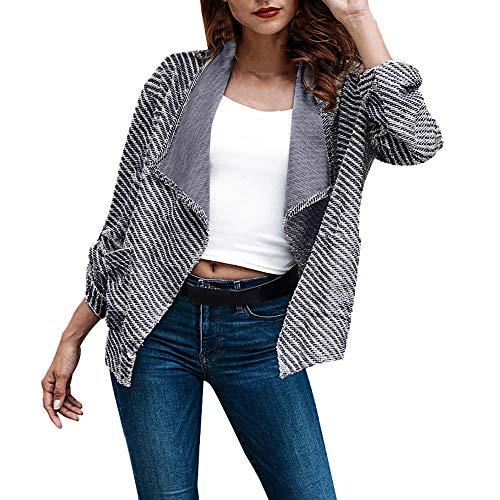 Strickjacke Kolylong Damen Vintage Streifen Jacke Kurz Herbst Elegant Mantel mit Reverskragen Klassisch Business Offene Blazer Arbeit Büro...