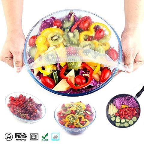 Ganjoy Coque en silicone Bol couvertures stratifiées et de nourriture stretch couvercles réutilisables pour l'environnement ( 4 paquets )