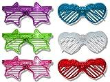 12 x LED Partybrille Herz und Sternform Atzenbrille Party Gitter Brille Karneval