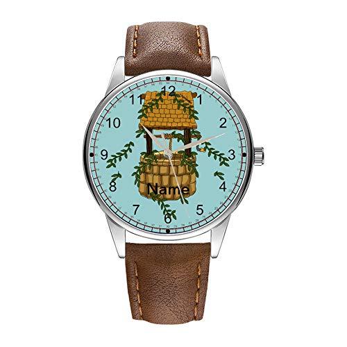 Herrenuhr braun Cortex Quarz Uhr für Männer berühmte Luxus Armbanduhr Quarzuhr für Geschäftsgeschenk Amish Wishing Well Armbanduhr
