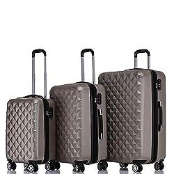 BEIBYE Twin Rolls 2066 Hard Case Trolley Suitcase Travel Case Luggage ML-XL Set (Champagne, Set)
