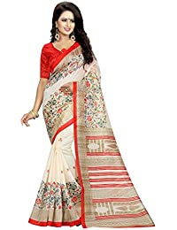 MAC Sarees Women's Cotton Silk Saree With Blouse Piece (MAC55_Cream)
