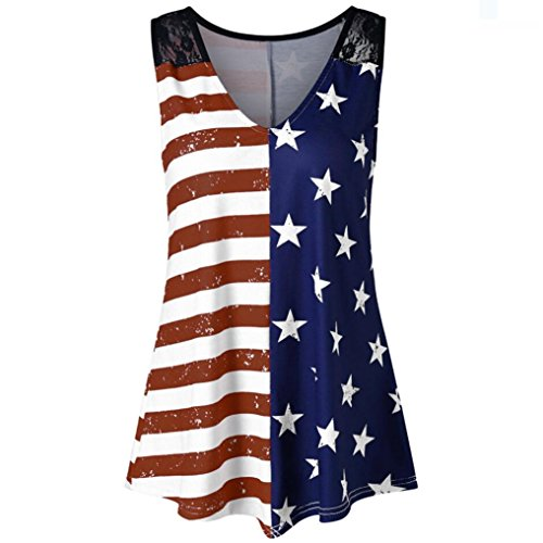 TWIFER Mädchen American Flag Spitze Einsatz Damen V-Ausschnitt Tank Tops USA Flagge Shirt Ärmellos Bluse (Shirts Flagge Karierte)