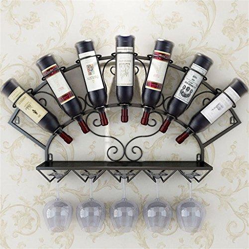 Etagère à bouteille Porte-bouteilles mural accrochant porte-bouteille de vin en métal Fer porte-verres à vin gobelets étagères de rangement Style Vintage Creative Décoration Affichage Application - Pe