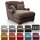 CAVADORE XXL-Sessel Oasis / Großer Polstersessel im modernen Design / Inkl. 2 schöne Zierkissen / 120 x 99 x 145 / Webstoff in braun