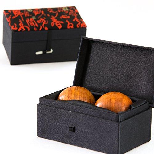 ZENKRAFT - Exklusive Qi Gong Kugeln aus Palisanderholz in edlem Brokatkästchen (Black)