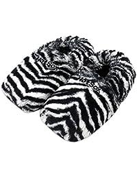 Original Hot Sox aufheizbare Körnerpantoffel Wärmehausschuhe Supersoft - Zebra / Gr.M 36-40
