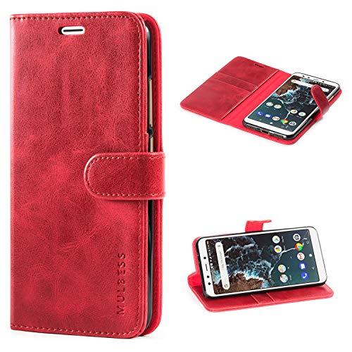 Mulbess Handyhülle für Xiaomi Mi A2 Hülle, Leder Flip Case Schutzhülle für Xiaomi Mi A2 Tasche, Wein Rot