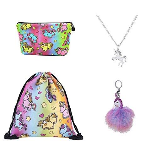 DRESHOW 4 Pack Cute Unicorn Drawstring Backpack/Make Up Bag/Alloy Chain Necklace/Fluffy Pendant Key Chain Keyring Handbag