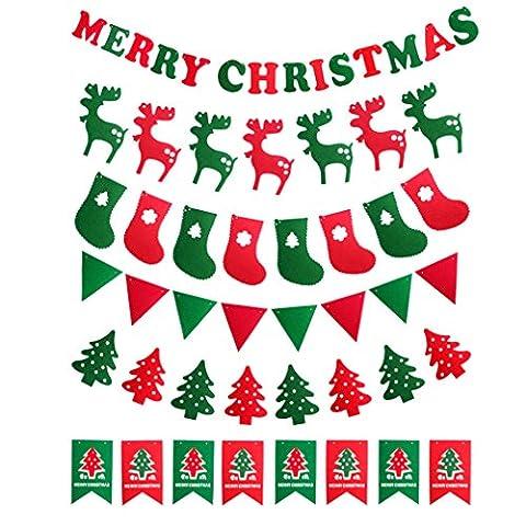 Abseed 6er Weihnachten Filz Girlande Flagge Hängende Banner für Weihnachten Party Home Dekoration (Dicke Christmas Garland)