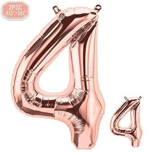 """FUNXGO Folienballon Zahl in Rose Gold 2 Stück - 40\""""/100cm +16\""""/40cm - Folienballons für Helium und Luft als Geburtstag, Hochzeit , Jubiläum oder Abschluss Geschenk , Party Dekoration (Rosegold[4])"""