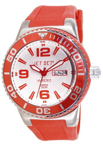 J-Jet Set 55454-05-Wb30 Unisex Watch Analogue Quartz White Dial White Rubber Strap Orange