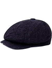 395cc6b3ce0a5 YaWindYa Mens 6 Panel Herringbone Tweed Newsboy Flat Cap Gatsby Peaky  Blinders Baker Boy Hat 57CM