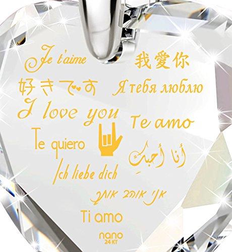 Pendentif Coeur - Bijoux en Argent Fin avec Je t'aime en 12 langues inscrit en Or 24ct sur un Zircon Cubique en Forme de Coeur, 45cm - Bijoux Nano Transparent