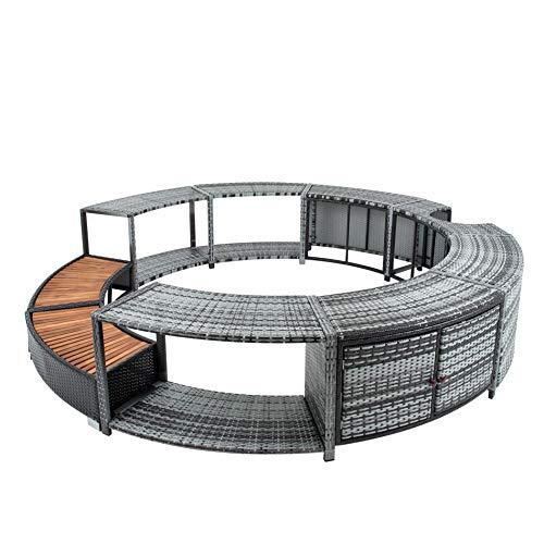 EstexoH&G Rattan Poolumrandung für Pools, Whirlpools bis zu 200 cm Durchmesser, grau