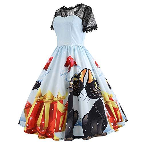 en Kostüm Halloween Partykleider Druckkleider 1959er Ärmellos Vintage Retro Spitzenkleid Rundhals Abendkleid ()
