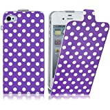 iPhone 5 Case - Purple Polka Dot Flip Cover for iPhone 5 / 5s / SE, Screen Protector Included