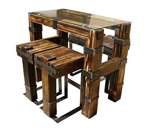 CHYRKA® Esstisch Wohnzimmertisch DROHOBYCZ Hocker Loft Vintage Bar IndustrieDesign Handmade Holz Glas Metall (120x60 cm - Tisch+4Hocker) - Vintage Metall Hocker