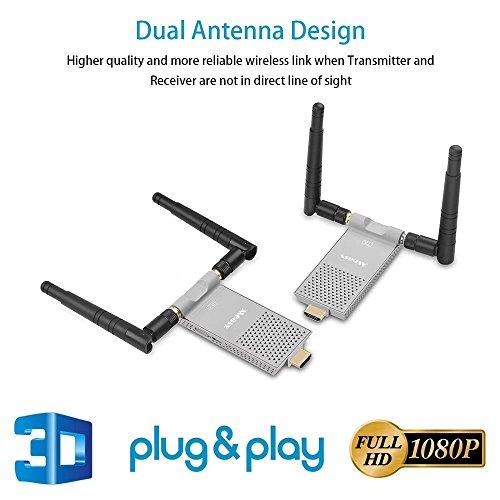 measy Air Prime 2.4/5.0GHz Wireless HD Extender Set für HDMI AV Empfänger und Sender, 200m 3D Digitale Übertragung Full-HD 1080p Extender mit IR Fernbedienung und HDMI Kabel - Av Sender Hd Wireless