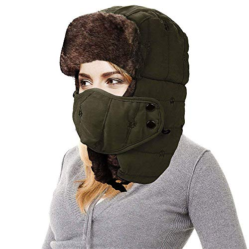 AMAKU Winter Trapper Hat con Maschera Viso Pelliccia Orecchio Flap Trooper  Outdoor Antivento Ushanka Hat per af93ce3b9085