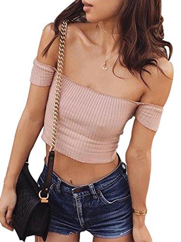 Simplee Apparel - Débardeur - Femme Pink Short Sleeve