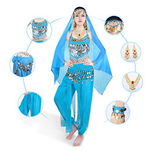 SymbolLife Femmes en mousseline de soie indienne Danse Banadge Haut Avec Chest Pad + Pantalon court + aist Ceinture + grand foulard Tete + Bracelet + Visage + echarpe collier Azur