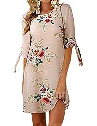 73b4c93d269e5 Verano Mujeres Casual Impresión Mini Vestido de Playa Vacaciones Moda  Cuello Redondo Media Manga Vendaje Vestidos de Partido Cóctel…