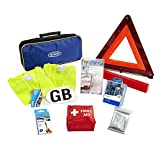 Ring RCT1 10 Piece European Travel Kit, with Warning Triangle, 2 High Vis Vests, Bulb Kit, NF Breathalysers, First Aid Kit, Foil Blanket, Beam Reflectors, GB Sticker and Storage Case