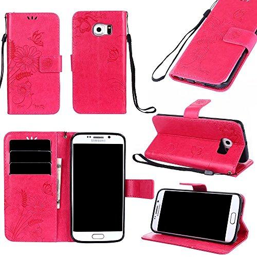 Premium PU-Leder Folio Stand Case, Solid Farbe prägeartig Blumen Stil Schutzhülle Tasche Tasche mit Lanyard & Card Slots für Samsung Galaxy S6 Edge ( Color : Pink ) Red