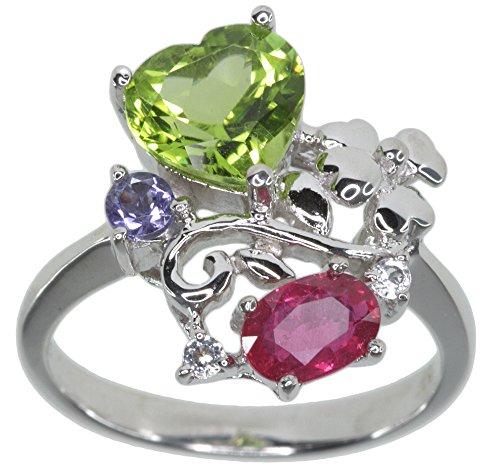 Peridot Herz Ruby Tansanit Edelstein Sterling Silber Ring Größe N