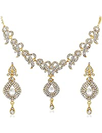 Apara Gold Plated Necklace Set With American Diamond For Women