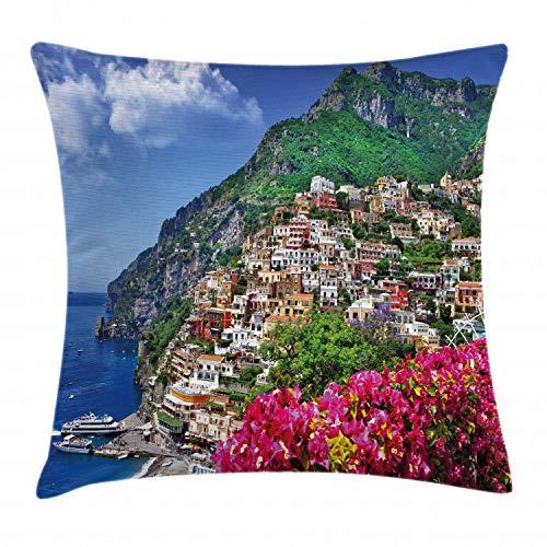 ABAKUHAUS Italia Copricuscino, Positano Amalfi Napoli, per Uso Interno ed Esterno, 60 x 60 cm, Rosa Verde Blu